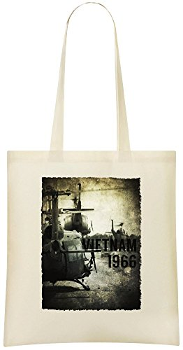 Vietnam Hubschrauber - Vietnam Helicopter Custom Printed Grocery Tote Bag - 100% Soft Cotton - Eco-Friendly & Stylish Handbag For Everyday Use - Custom Shoulder Bags