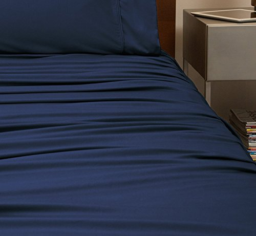 SHEEX Performance Sheet Set with 2 Pillowcases, Ultra-Soft Fabric Better Than Cotton, Navy, Queen