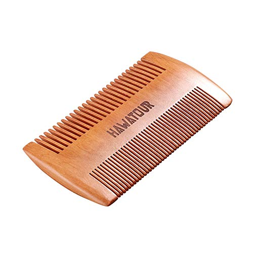 Beard Comb, Natural Wood Mustache Comb with Fine & Coarse Teeth for Men by HAWATOUR