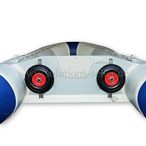 B&A Innovationen Slipräder für Schlauchboot, Heckräder aus Edelstahl V4A salzwasserbeständig