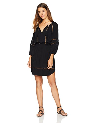 Seafolly Damen Lace Insert Dress Bademodeüberzug, Mondblume schwarz, X-Small