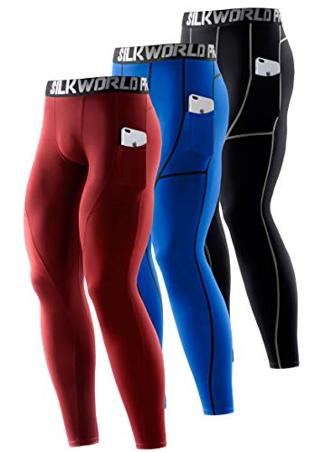 SILKWORLD Men's 1~3 Pack Compression Pants Pockets Cool Dry Gym Leggings Baselayer Running Tights (Medium, Pack of 3: Black(Grey Stripe),Dark Red,Blue)