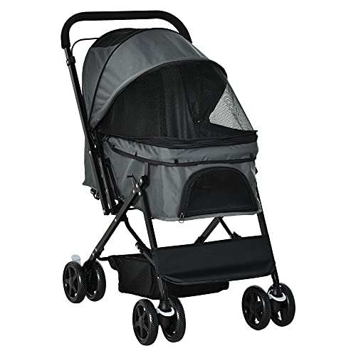PawHut Pet Stroller Dog Cat Travel Pushchair Foldable Jogger with...