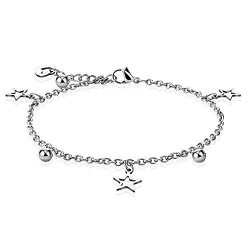Bungsa® bedelarmband zilver met sterren, hart en kogel roestvrij staal (bedelketting armband dames armband herenarmband armband armband chirurgisch staal sieraden roestvrij staal)