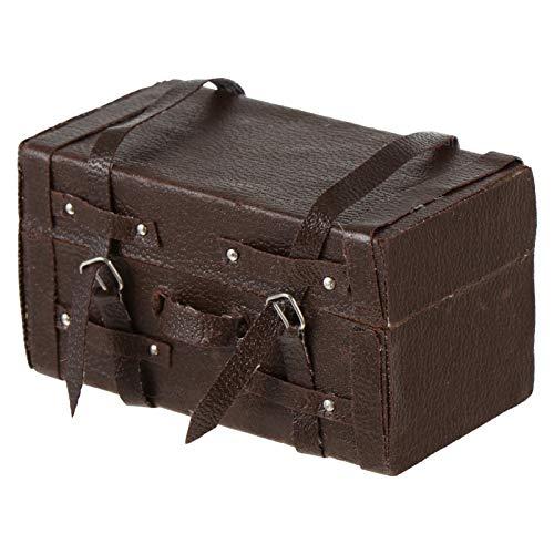 TOYANDONA Dollhouse Suitcase 1: 12 Suitcase Chest Miniature Vintage Wood Suitcase Mini Luggage Box Pretend Play Toy Dollhouse Accessories