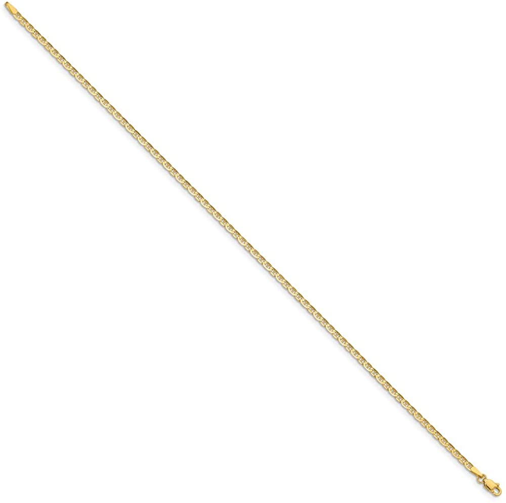 14k Polished Anchor Link Anklet 10in 2mm style ANK68-10