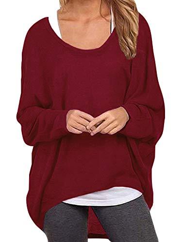 ZANZEA Damen Lose Asymmetrisch Jumper Sweatshirt Pullover Bluse Oberteile Oversize Tops Wein Rot EU 42-44/Etikettgröße L
