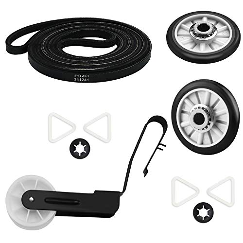 4392065 Dryer Replacement Parts Includes 341241 Drum Drive Belt & 2 PCS 349241T Support Roller &...