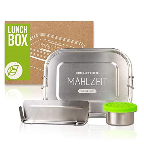 LOFTASTIC® - NEU - Premium Edelstahl Brotdose 1400ml | Lunchbox Set mit 110ml Dipbox und Trenner | Frei von BPA- und Plastik