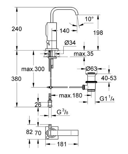Grohe – Waschtisch-Sensorarmatur, Kalt- und Warmwasser, Batterieversorgung, Ablaufgarnitur, Chrom, Allure E - 2