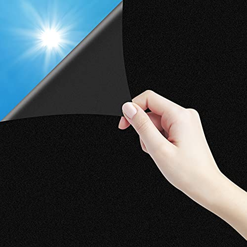 Fensterfolie Selbsthaftend, Milchglasfolie Blickdicht Folie Fenster Sichtschutzfolie Anti-UV mit Statischer Haftung, Folie Milchglas Für Zuhause Badzimmer oder Büro Schwarz 60 X 200 CM