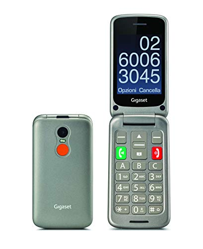 Gigaset GL590 Telefono Cellulare a conchiglia, Tasto SOS, Vivavoce, Torcia, Base di Ricarica, Display da 2.8, Grigio [Versione Italiana]