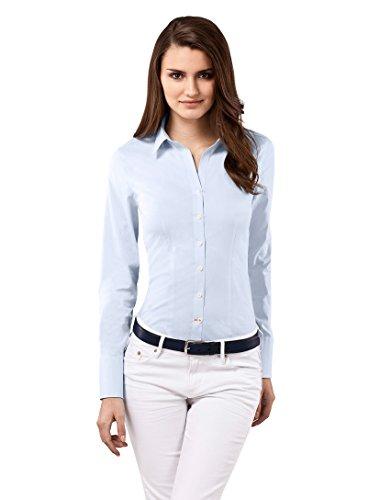 Vincenzo Boretti Damen Bluse besonders tailliert mit Stretch Langarm Hemdbluse elegant festlich Kent-Kragen auch für Business und unter Pullover eisblau 34