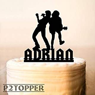Acdc Cake Topper,Metallica Cake Topper,Nirvana Cake Topper,Rock Guitarist Cake Topper,Ac/Dc Rock Band Inspired,Rock Music Themed