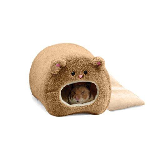 Pixnor Caseta para ratones, hámster, jaula de invierno, cálida, Hamaca, con diseño de simpático oso, casa con cama