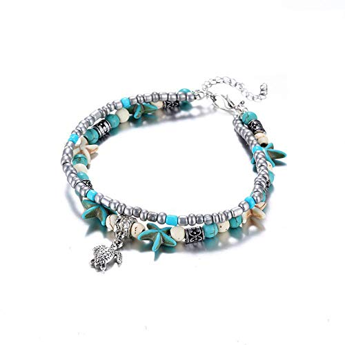 SEVENSTONE Handmade Starfish Turtle Anklet Beads Sea Boho Pearl Adjustable Charm Anklets Foot Jewelry for Women Girls