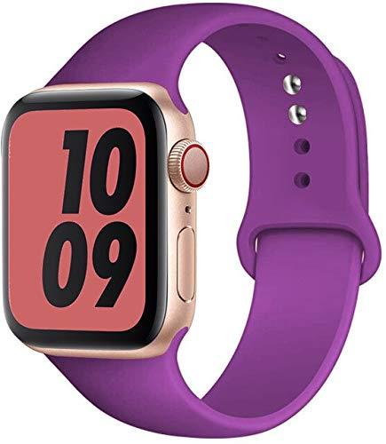 MAIDEN Correa de silicona compatible con Apple Watch Band de 44 mm, 40 mm, 38 mm, 42 mm, correa de goma, pulsera deportiva compatible con Iwatch Serie 3, 4, 5, SE 6