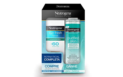 Kit Promocional Protetor Solar Sun Fresh Facial FPS 60 com Água Micelar Demaquilante, Neutrogena