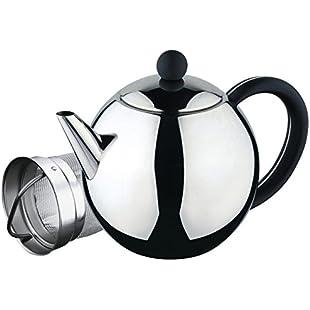 Café Ole Rondo Stainless Steel Tea Pot Easy Pour Teapot with Infuser Basket 35oz 1000ml:Qukualian