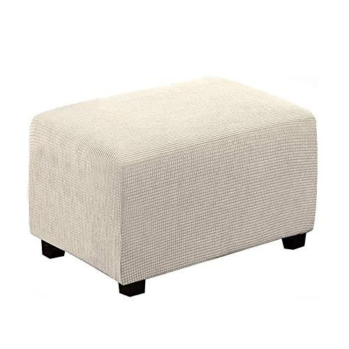 BANGSUN Funda elástica rectangular para taburete de pie, tela jacquard gruesa, color blanco natural, pequeño