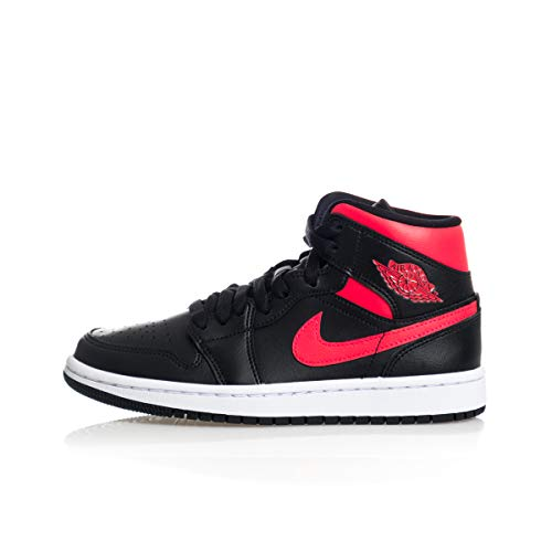 Nike Wmns Air Jordan 1 Mid, Scarpe da Basket Donna, Black/Siren Red-White, 39 EU