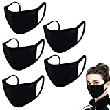 5PCS Made in USA | Reusable Washable 100% Cotton | Face_Masks Mouth Face Protective Bandana Balaclavas Dust_Mask for Unisex Adult (Black, 5 Pieces)