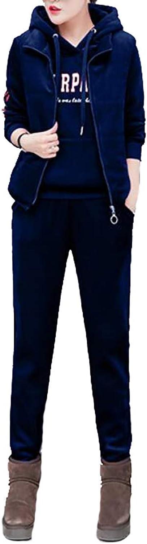 Emastor Women's Velvet Printed 3 Pieces Sweatshirt Vest Pants Set Sweatshirt