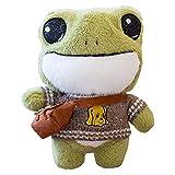 Dan&Dre Juguete de peluche de rana de 30 cm, diseño de rana Plushie con ropa de peluche, animal suave, juguete de rana, regalo para niños y niñas