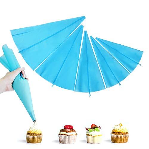Yisscen 5Pcs Bolsas de Pastelería, 5 Tamaños Manga Pastelera de Silicona Reutilizables Usado para Galletas Crema Tartas Hojaldre Tuberías Crema Pastelera Bolsa DIY Decoración Kits, Azul