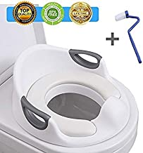 Potty Training Seat for Kids Toddlers Boys Girls Toilet Seat for Baby with Cushion Handle and Backrest Toddlers Toilet Training Seat for Baby Kids Toddlers