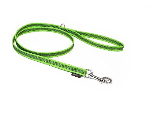 Mystique® Gummierte Leine 12mm mit Handschlaufe Standard Karabiner neon grün 2m
