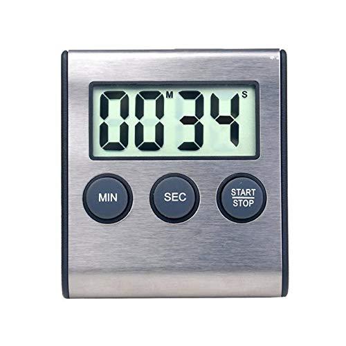 1pc Durable Digital Timer Minute Sekunde Timer Digital Timer Edelstahl Timer for Gym Kochen (Color : Silver)
