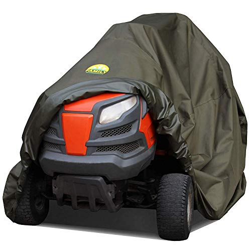 Family Accessories 100% Waterproof Riding Lawn Mower Cover, Heavy Duty Premium Water Resistant Garden Tractor Cover, Weatherproof Outdoor Storage for Ride On Lawnmower Engine, Large 76Lx47Wx47H
