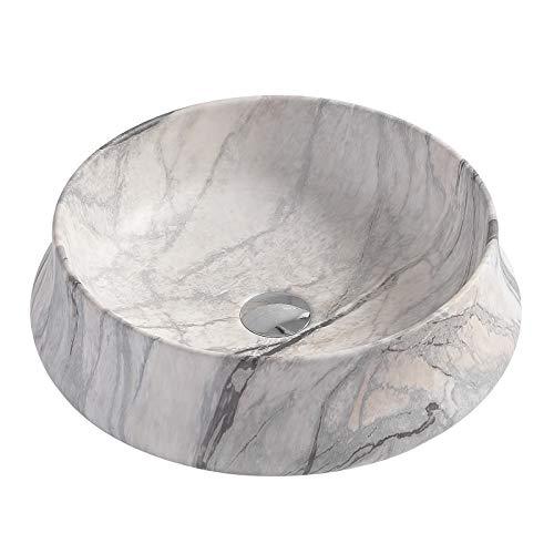 Aufsatzwaschbecken aus Keramik KW6188-45,5 x 45,5 x 15 cm - Farbe wählbar, Ohne Ablaufgarnitur, Marmor-Optik Weiß matt