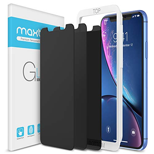 Maxboost 3 Pack Privacy Screen Protector Compatible with iPhone XR and iPhone 11 (6.1') Tempered Glass Screen Protector [0.33mm] Advance Protection/Work with Most Case - 3 Pack