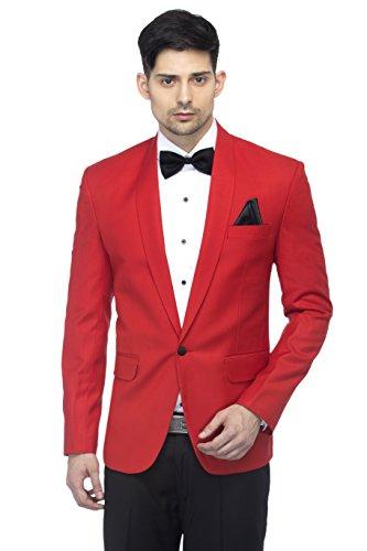 FAVOROSKI Designer Men's Solid Poly Viscose Slim Fit Shawl Collar Tuxedo Suit Blazer
