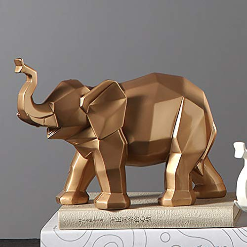 YB&GQ Abstracto Elefante Escultura,geométricos Animal Estatuas Artesanía Resina Decoración Figura Modernas Ornamentos para Oficina Decoración del Hogar Acentos Oro A 30x20x10cm(12x8x4inch)