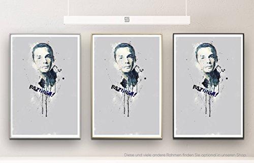 Sheldon Cooper 90x60cm auf Masterclass Metallic Pearl High Gloss Photo Paper inklusive Aluminium Wechselrahmen Champagner Gold mit Glas und Rückwand fertig gerahmt