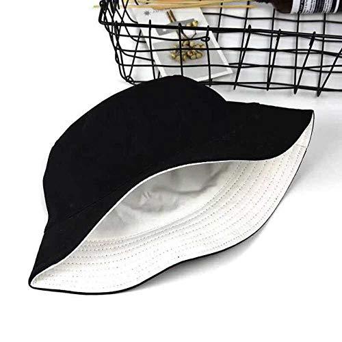Sombrero Pescador Gorras Hombre Mujer Sombrero De Pescador De Algodón Unisex Moda Simple Sombrero para El Sol Salvaje Viaje Al Aire Libre Gorra De Cubo Sombrero De Playa -Black_White