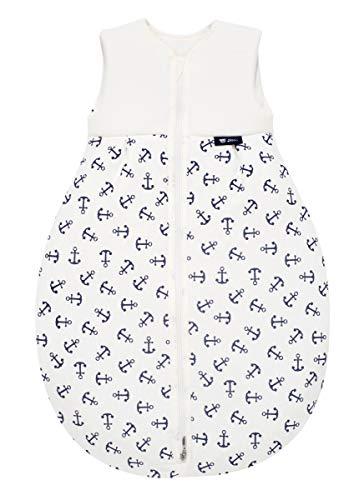 Alvi Baby Mäxchen Light - Leichter Sommer-Schlafsack ohne Arm Babys Schlafsack ungefüttert Birnenform, 100% Baumwolle Öko-Tex 100 zertifiziert, Größe:70, Design:Anker marine 833-1