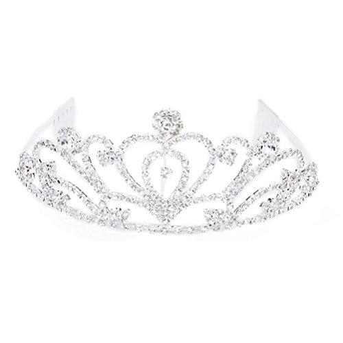 Tinksky Wedding Tiara Rhinestone Decor Bride Crown Hair Comb Hair Accessories (Silver)