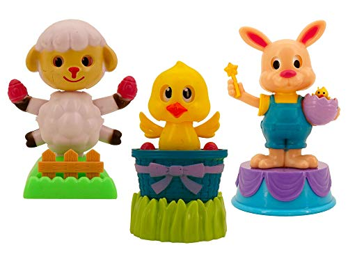 Solar Powered Dancing Easter Figures (3 Pack, Lamb, Chick and Bunny, 3 in tall) Swaying Lamb Holding Easter Eggs, Chick In Easter Basket And Easter Bunny With Chick In Egg Bobblehead Figurines