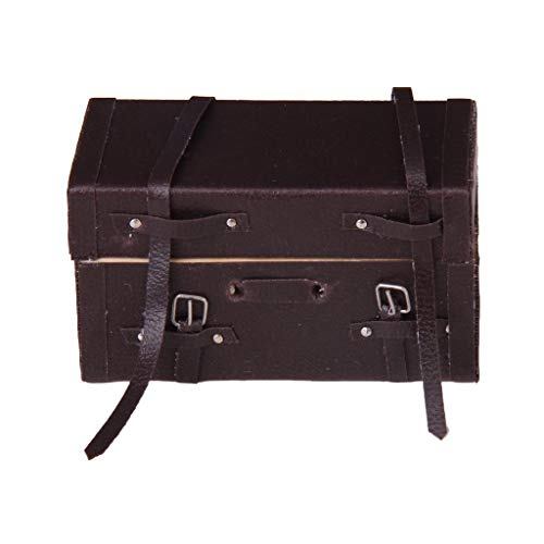 Fliyeong Puppenhaus aus Holz, Maßstab 1/12, Miniatur, Vintage, Koffer, Kunstleder, braun, kreativ und nützlich