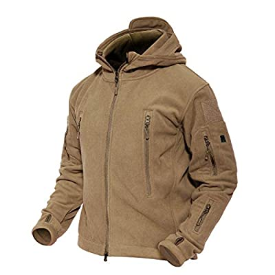 MAGCOMSEN Tactical Jacket Men Hiking Jacket Warm Fleece Jacket Military Jacket Tactical Fleece Jacket Brown