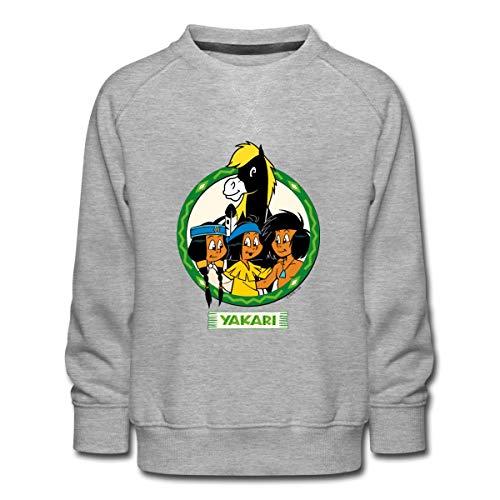 Spreadshirt Yakari Indianer Mit Seinen Freunden Kinder Premium Pullover, 134-146, Grau meliert