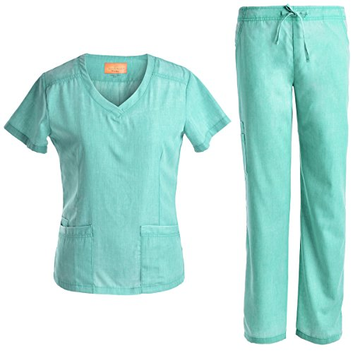 JS1602 Pflegeset, schmale Uniformen, V-Ausschnitt, für Damen, Jeanish - Grün - X-Groß