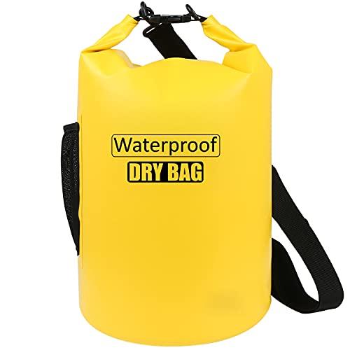 AILGOE Bolsa impermeable 5L/10L/15L/20L/25L/30L/40L, ligera bolsa seca con correa de hombro ajustable larga perfecta para la deriva/navegación/kayaking/pesca/rafting/natación/camping (amarillo, 10L)