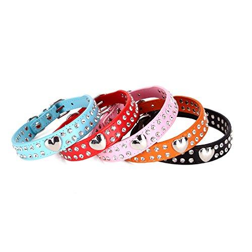 Collar de piel para perros con dos filas de diamantes de imitación y corazón llamativo tachonado, para mascotas pequeñas o medianas