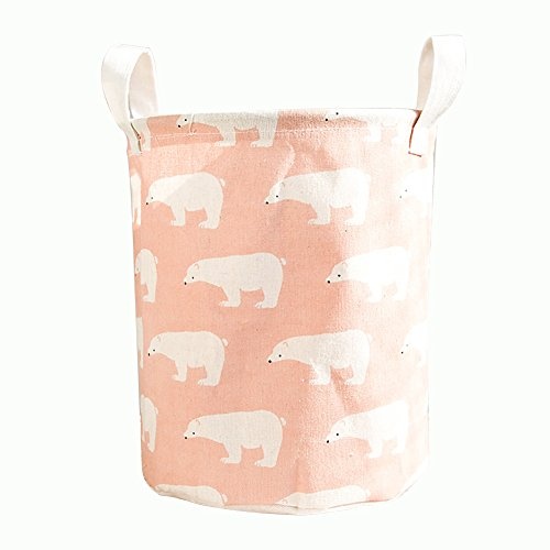 Cesto de ropa para niños rosa con osos polares