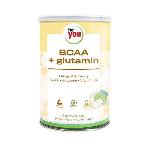 for you BCAA + Glutamin Energy & Recovery Apfel I hochreine konzentrierte Mischung L-Leucin L-Isoleucin L-Valin L-Glutamin Vitamin B 6 I 480 g Sportnahrung BCAA Aminosäuren Pulver 40 Portionen